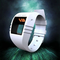cheap promotion price multifunction cool unique window dial silicone band red led watch instructions
