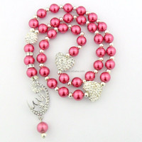 DB157 Fuschia Pearl Silver Plated Allah Islamic Muslim Allah Prayer Beads Tasbih