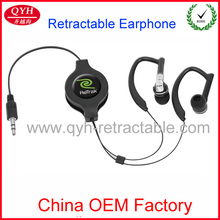 2014 Hot Selling Earphone In Ear 3.5mm retractable Earphone With MIC And Volume Control