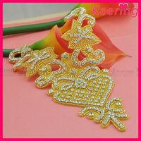 New coming fashion gold applique rhinestone neckline motif WRA-536