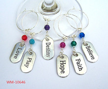 WM-10646 Inspiring words wine charms, , bright silver, dining & entertainment barware 6 inspirational wine charms