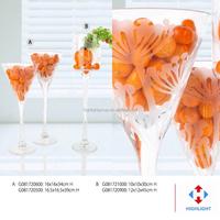 clear long stem martini glass vase for wedding decoration