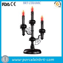 Wholesale black battery operated decorate table resin Halloween Candle