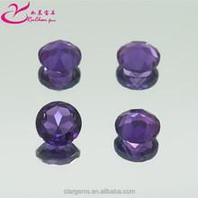 Facet round cut 8*8mm amethyst crystal loose gemmstone for clothing