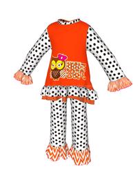 polka dot with orange chevron stripes ruffle clothing for girls halloween costume manufacturers china