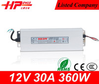 CE RoHS approved high quality power supply unit single output type Rainproof Case 12v 30a power supply