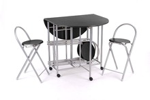 VECELO Round Extendable Folding Dining Table and Chair