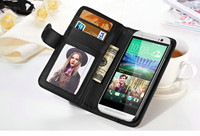 For HTC One M8 Leather Case Wallet Stand Flip Cover With Photo Frame Card Slots