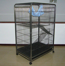 Foldable steel wire or plastic three- layer Cat Cage