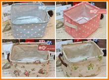 Lovely fresh waterproof cotton fabric finishing debris Storage basket / snack basket / storage basket collapsible 0063