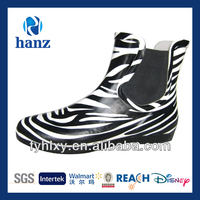 low cut boots fashionable women zebra rubber ankle wellies