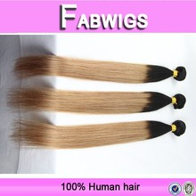 Fabwigs fast shipping 7a grade 10-26 inch indian virgin human hair, two tone color remy human hair bundle/extension