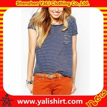 New design one pocket slim fit short sleeves cotton/spandex top quality striped t shirt for women
