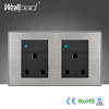 Wholesaler Wallpad Luxury Wall Light Switch Panel Random Click LED Indicator UK Double 1 Gang 3 Pin 15A Socket Switch Outlet
