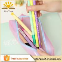 wholesale custom colorful zipper transparent clear plastic pencil case for school