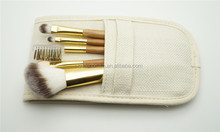 Private Label Bamboo Makeup Brushes 5pcs Synthetic Cosmetic Brush Set with Fiber Bag