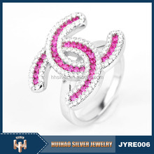 fashion charm jewelry ladies pink color channel value 925 sterling silver ring