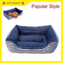 Luxury Navy Blue Stripe Pet Dog Sofa Factory Price