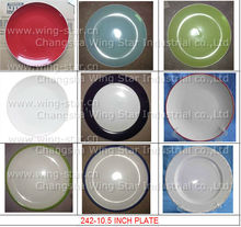 "10.5 inch stock color glaze plate 10.5"" dinnerware colorful color glazed cheap ceramic plates"