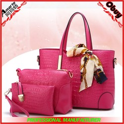 Latest customize PU leather ladies handbag 3 pcs set sling bag and clutch in stock