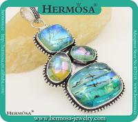 Splendid Dichroic Glass Colorful Murano Glass Freedom Shape Vintage Silver Jewelry Pendant