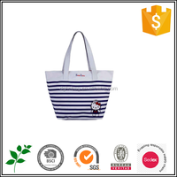 BSCI audited factory 2015 stripe cartoon lovely tote handed bag for women