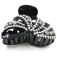 New design black plastic butterfly hair claw crystal stones,claws jaw hair clips
