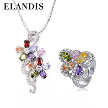 Beautiful Colored zircon flower-shaped necklace fashion african beads jewelry set