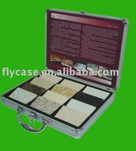 2012 style aluminium stone box,stone sample display case with logo print and safe locks