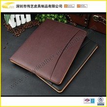 2015 The Top Quality Brown Durable Promotional Personal Office&School Gift A4 Leather Business Portfolio With Zipper Closed
