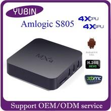 2015 Top sell MXQ Amlogic s805 ott tv box Quad Core Android4.4 Kodi pre-installed H.265 decoding