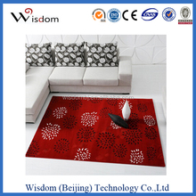 Red flower carpet rugs home with cut pile