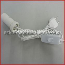 VDE CE UL approval vde lamp hold with inline 303 switch and e14 plastic lamp holde