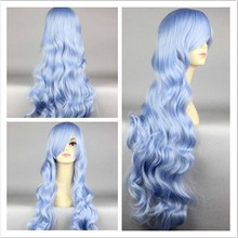 Famous in Party, Long Straight Wave Cosplay Hair Wig, Light Blue Mix Color Cosplay Full Wig