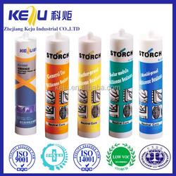 Weathering, ultra violet radiation, vibration, moisture, Acetic silicone sealant