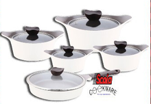 Scola Korea technique stainless steel 10pcs cookware sets non stick coating available in fry pan