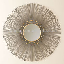 Unique sun round decorative metal wall mirror art