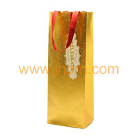 Matt&UV coating gold Christmas paper bottle bag with ribbon handle