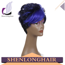 Hot China products sample available wholesale ombre color dark blue kanekalon heat resistant fiber wig