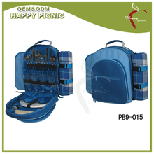 Blue 600D Material Cheap Fitted Picnic Bag with blanket