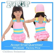 Young Girls New Style Pink and Blue Cute One Piece Beach Wear with Bowknot