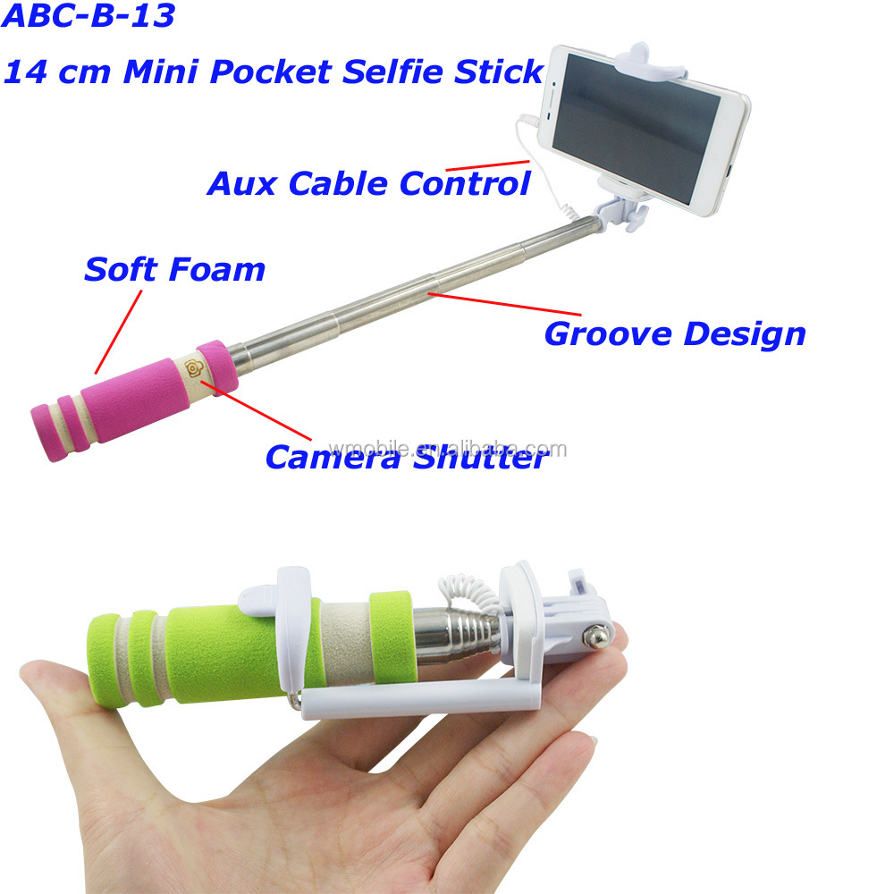 wholesale self selfie sticker mini foldable wired monopod selfie stick for ip. Black Bedroom Furniture Sets. Home Design Ideas
