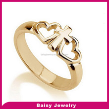 China Factory Wholesale engraved Gold Plated stainless steel Two Hearts Cross Ring
