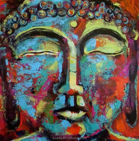 Modern colored heavy texture buddha head acrylic buddha painting