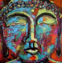 Modern colored heavy texture buddha head acrylic buddha painting
