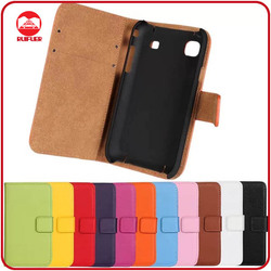 RF Manufacturer Wholesale Book Style Stand Wallet 100% Genuine Real Leather Flip Case for Samsung I9000 Galaxy S