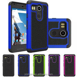 Combo rugged rubber mobile phone back cover case for LG nexus 5X