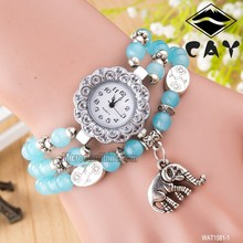 Fashion turquoise elephant rhinestone natural stone watch