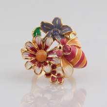 Latest products in market Gardern Style Pretty Honey Bee And Flower Enamel Tanishq Gold Jewellery Rings For Children