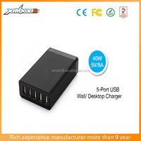 40W/8A/5V 5-port desktop travel charger for iphone , ipad,samsung,SAm Tab